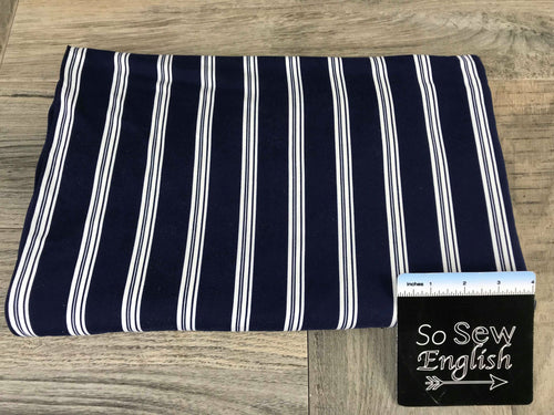 Navy/Ivory VERTICAL STRIPE- Double Brushed Poly Spandex -By The Yard
