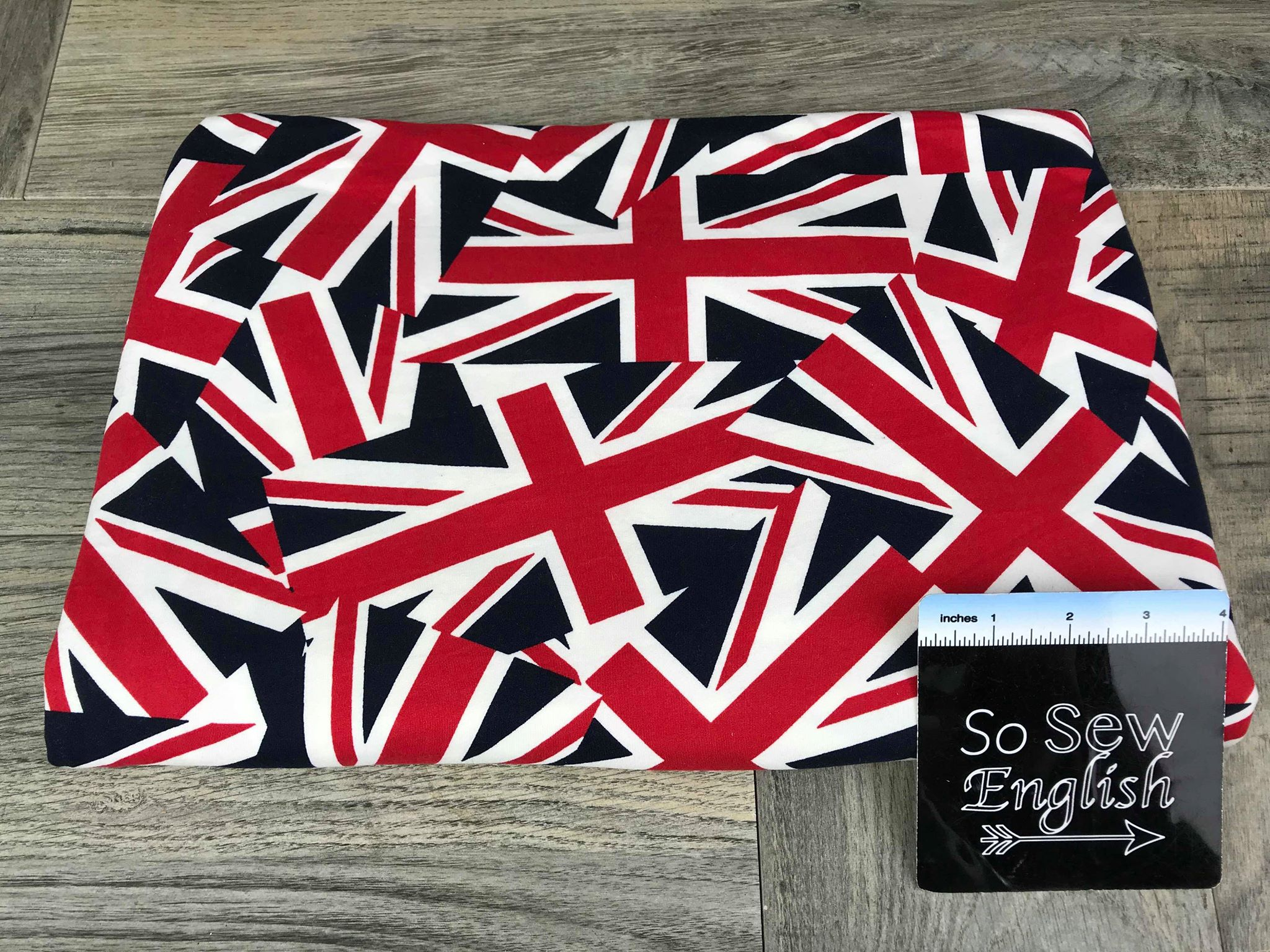 Navy UNION JACK - Double Brushed Poly Spandex -By The Yard
