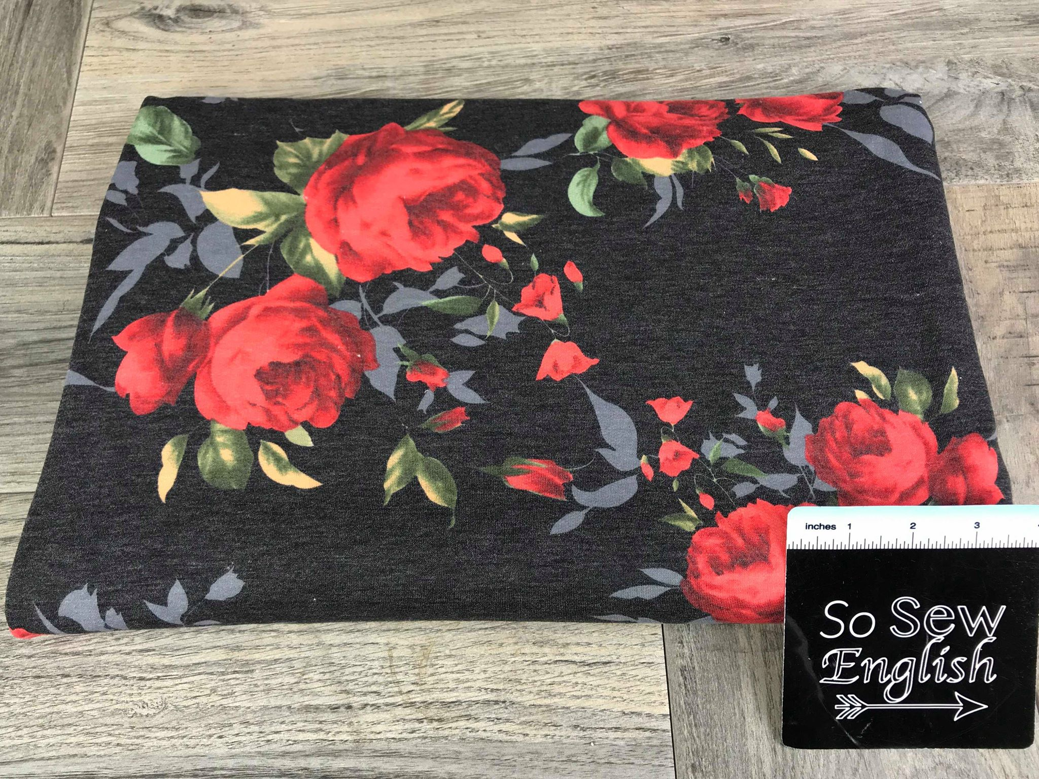 Soft Black/Red BLUSH LILLY -French Terry- By the yard