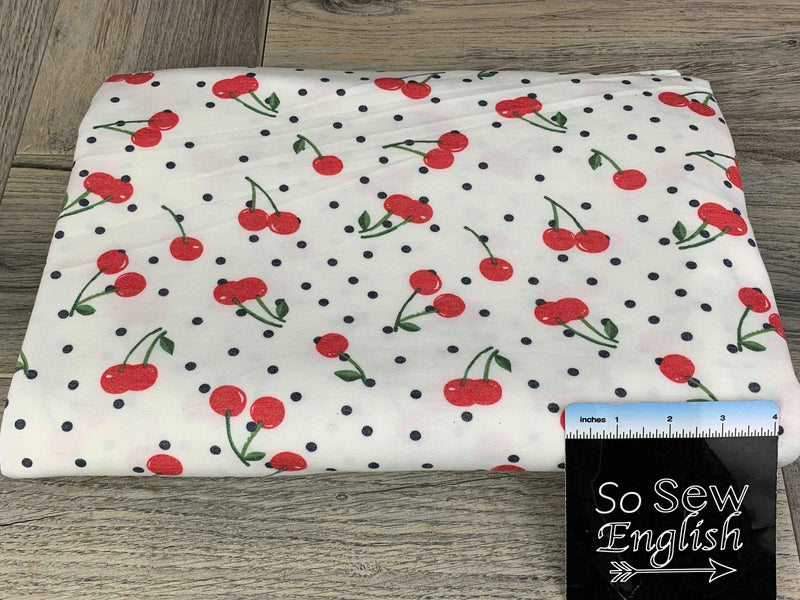 Ivory CHERRY DOT -French Terry- By the yard