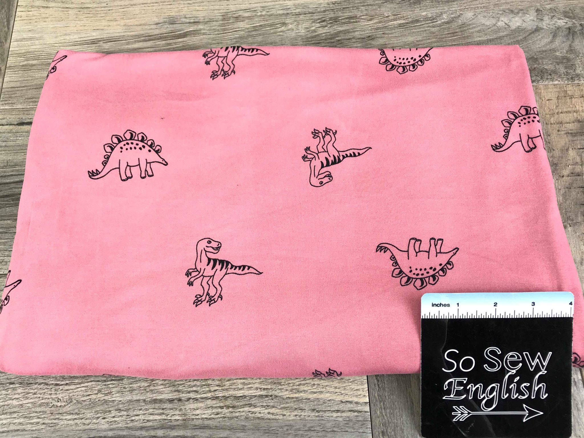 Soft Pink LEXI REXI- Double Brushed Poly Spandex -By The Yard (Dino dinosaur dinosaurs)