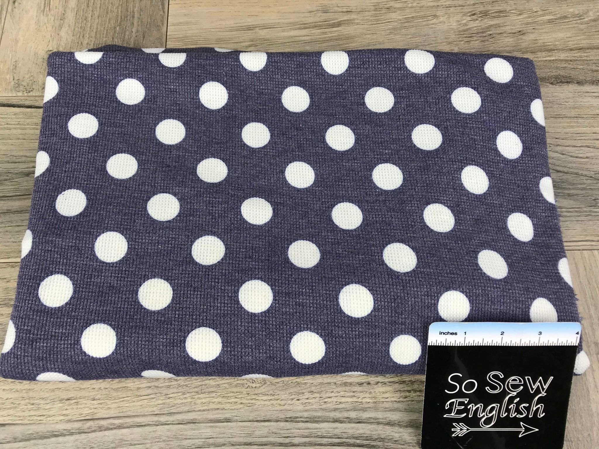 Navy DOT - Micro Thermal Knit - By the yard