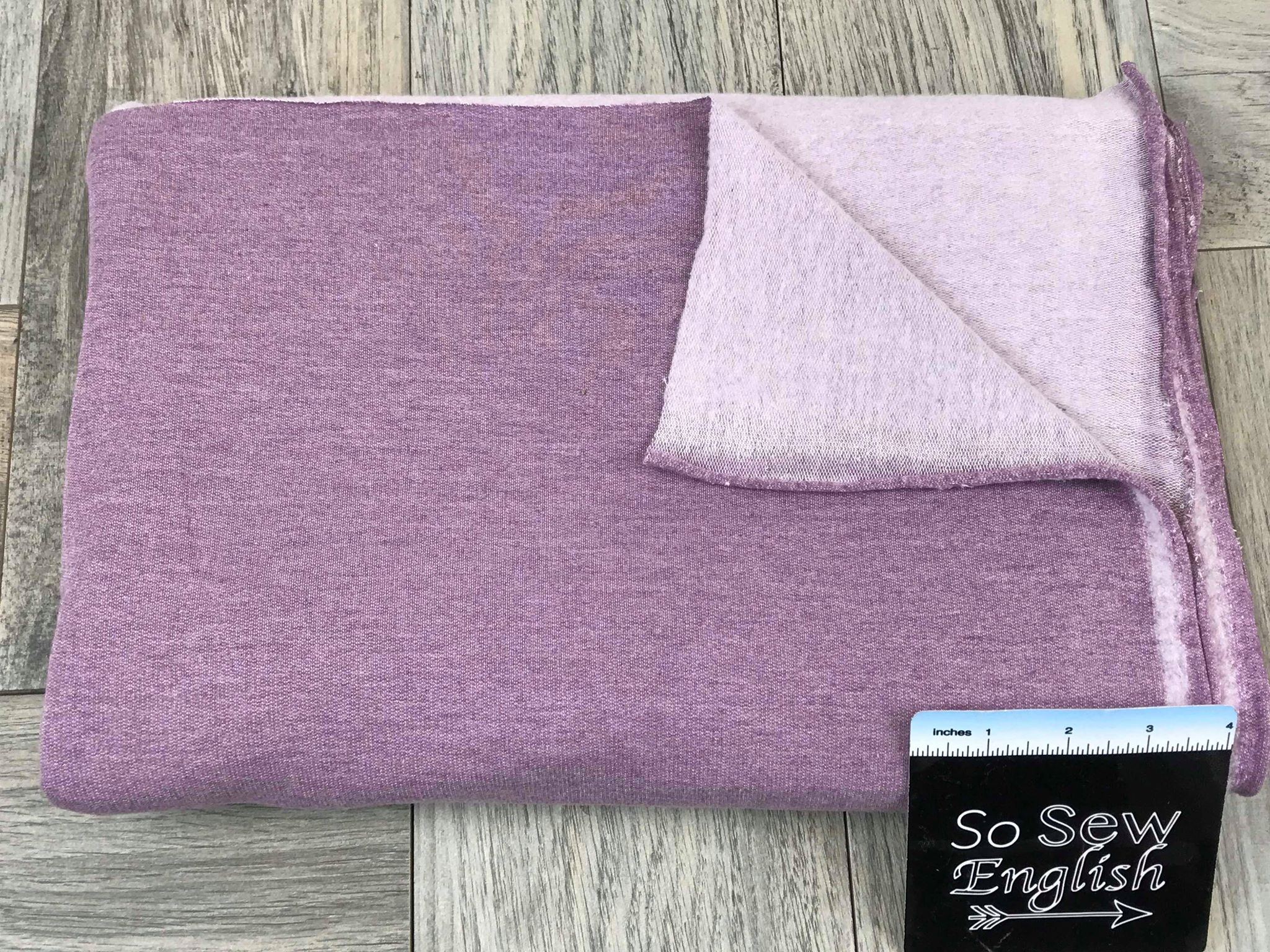 Solid PLUM MELANGE -Brushed French Terry 200gsm- By the yard