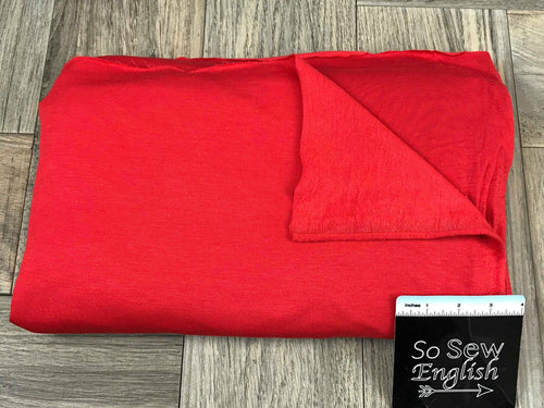 Solid RED -Brushed French Terry 200gsm- By the yard