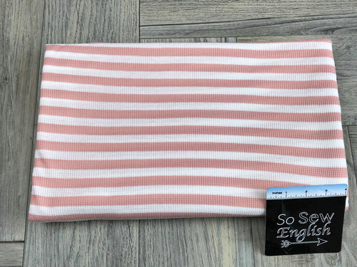 "Dusty Coral 1/2"" STRIPE - Thermal Knit - By the yard"