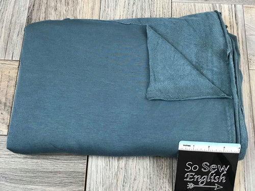 Solid DUSTY TEAL -Brushed French Terry 200gsm- By the yard
