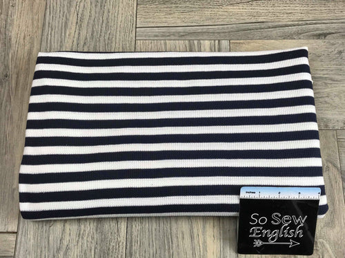 "Navy 1/2"" STRIPE - Thermal Knit - By the yard"