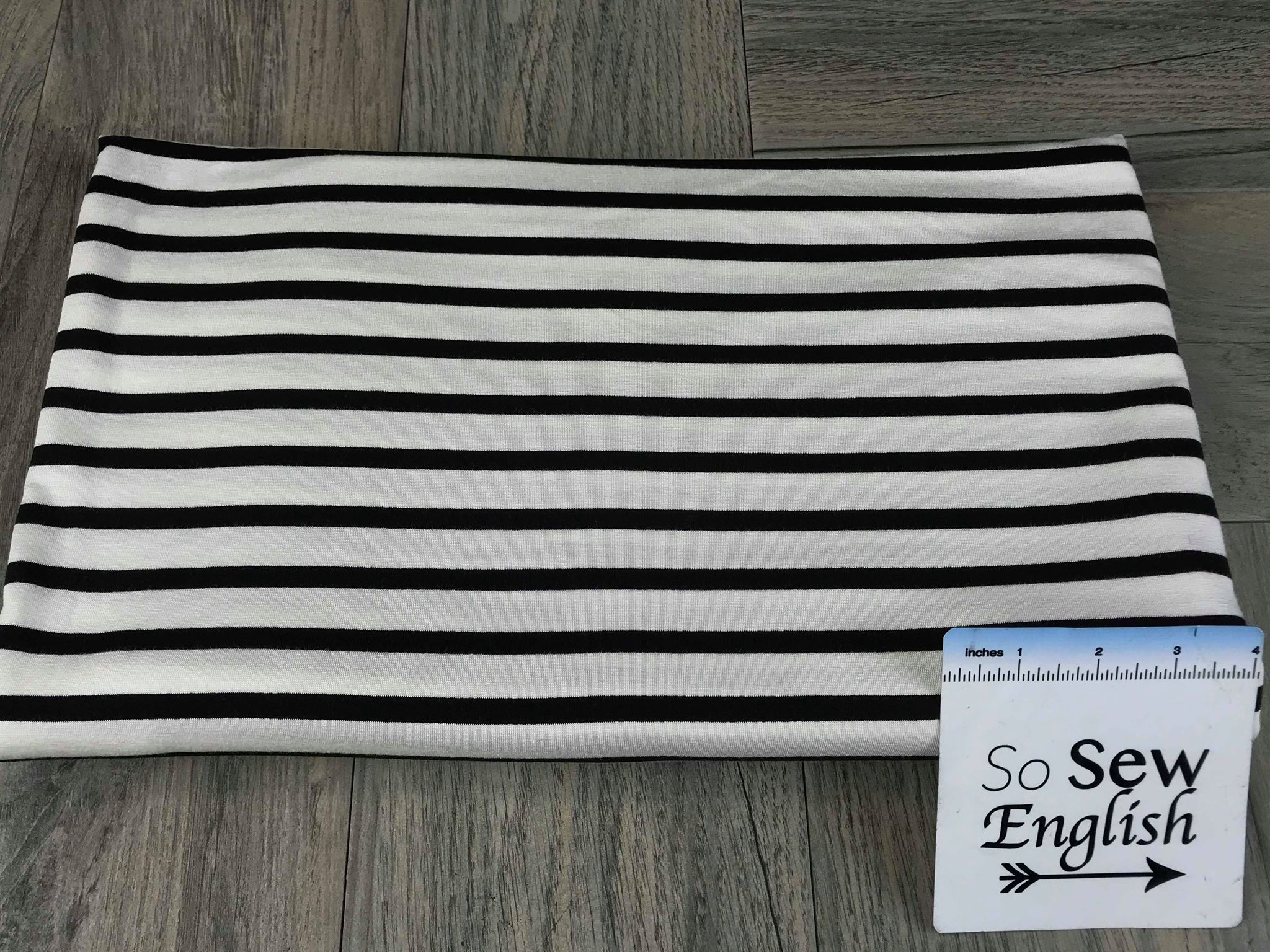 Black/Ivory Stripe - Modal Spandex - By the yard