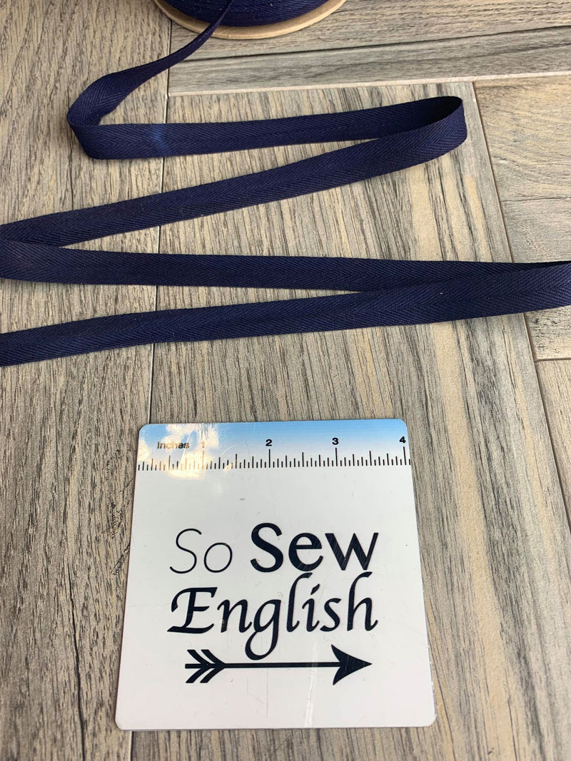 "Navy -5/8"" Twill Tape -Sold by the yard"