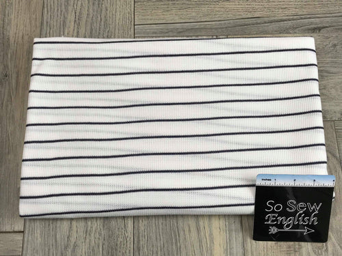 Ivory/Navy PINSTRIPE - Thermal Knit - By the yard