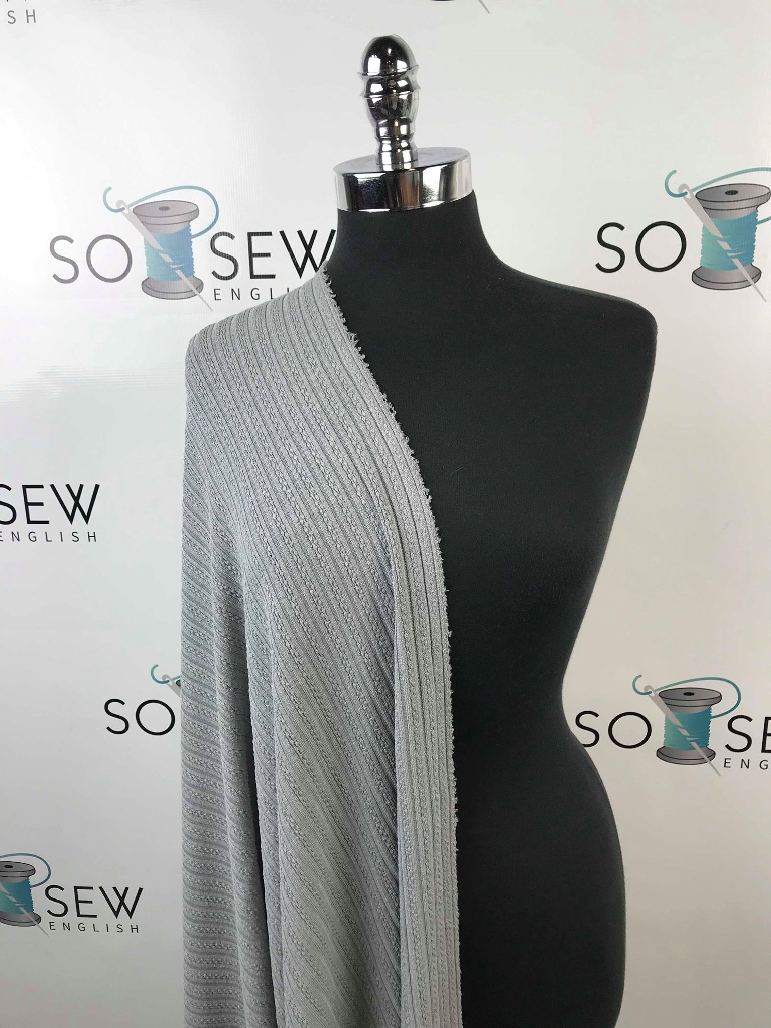Grey -Textured Ribbed Sweater Knit- By The Yard
