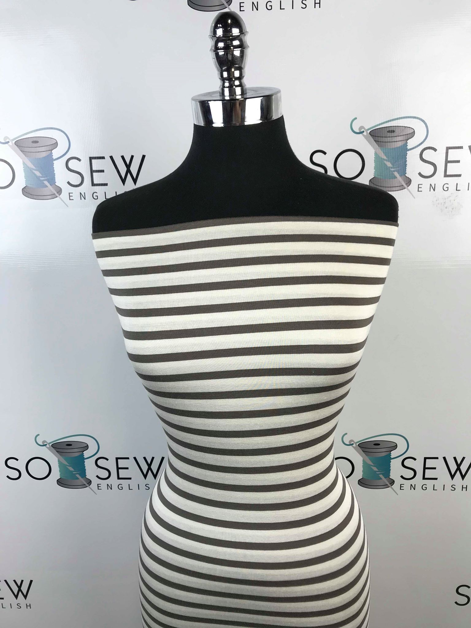 Mink/Ivory Stripe - Modal Spandex - By the yard