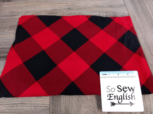 Red/Black BIAS BUFFALO PLAID- Double Brushed Poly Spandex -By The Yard