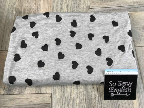 Grey/Black Tossed Hearts - Rayon Spandex -By the yard