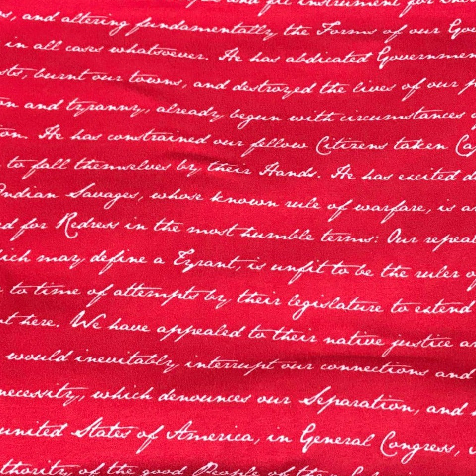 Red DECLARATION OF INDEPENDENCE- Double Brushed Poly Spandex -By The Yard (Patriotic)