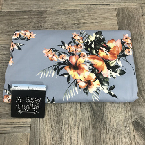 Chambray WATERCOLOR TROPIC - Single Brushed Poly Spandex -By The Yard