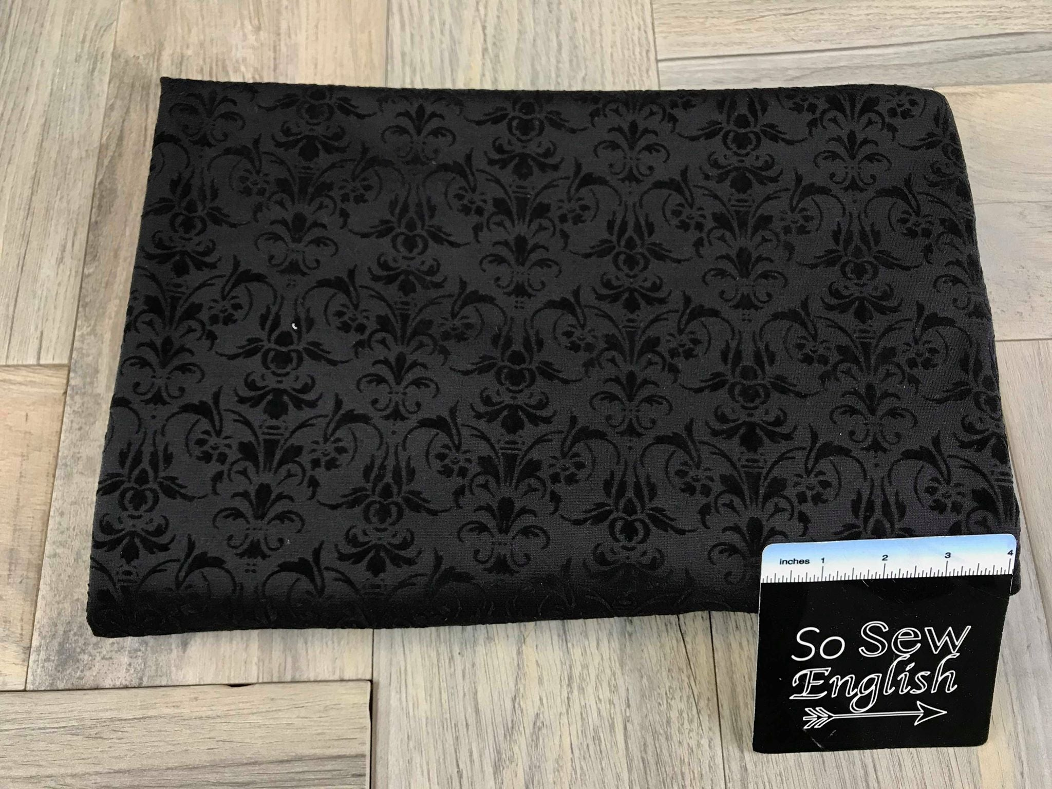 Black/Black Damask -Flocked PONTE  - By The Yard