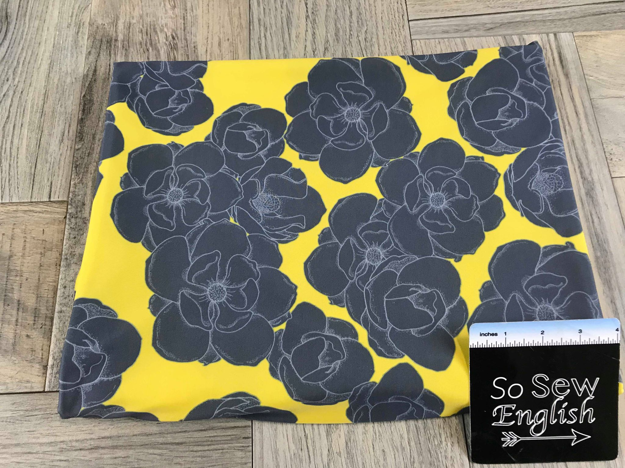 Yellow/Charcoal FLORAL -Swim -By The Yard
