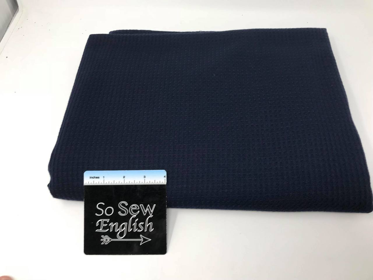 Solid Navy THERMAL  - THERMAL Knit - By the yard
