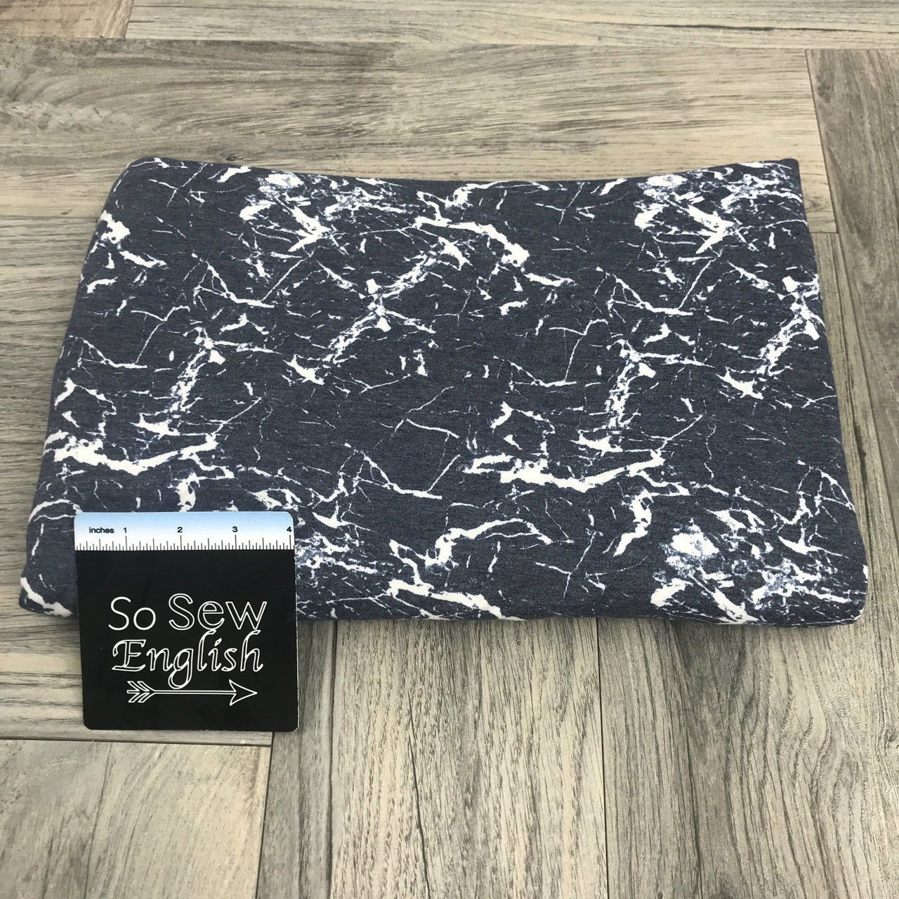 Navy/White CRACKLE -Poly Rayon Spandex French Terry - By the yard