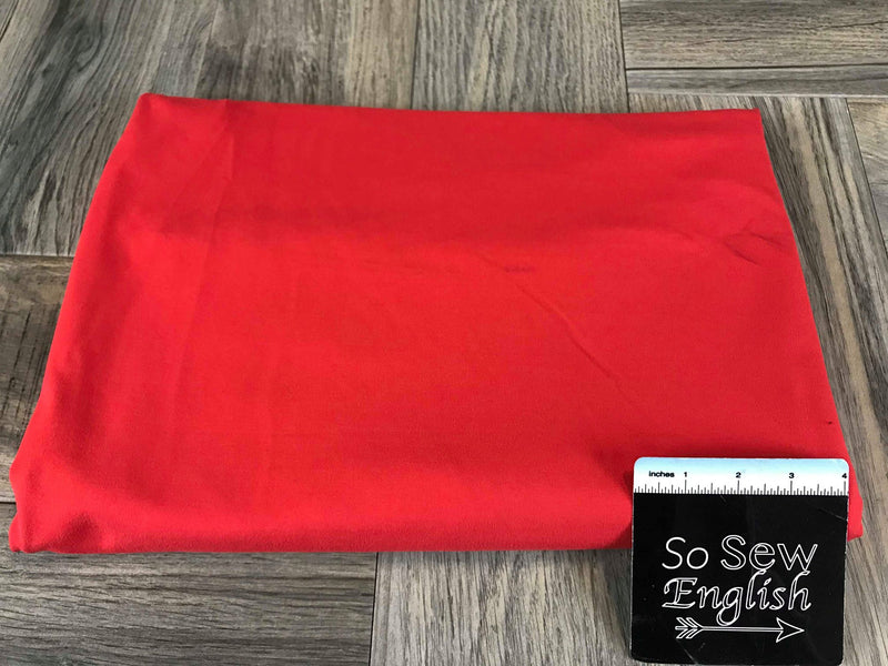 Solid Bright Red -325gsm Brushed Performance -By The Yard