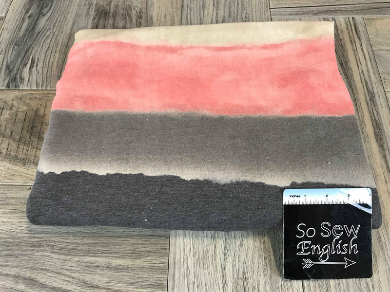 Coral/Grey Watercolor Stripe  - French Terry- By the yard