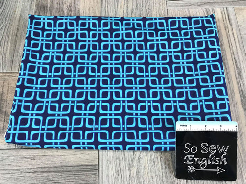 Navy/Aqua Square Grid -Swim -By The Yard