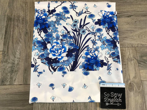 Blue/White Floral -Swim -By The Yard