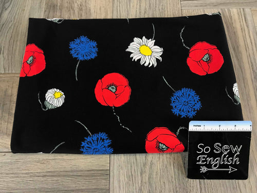 Black with Red/Blue Floral -Swim -By The Yard