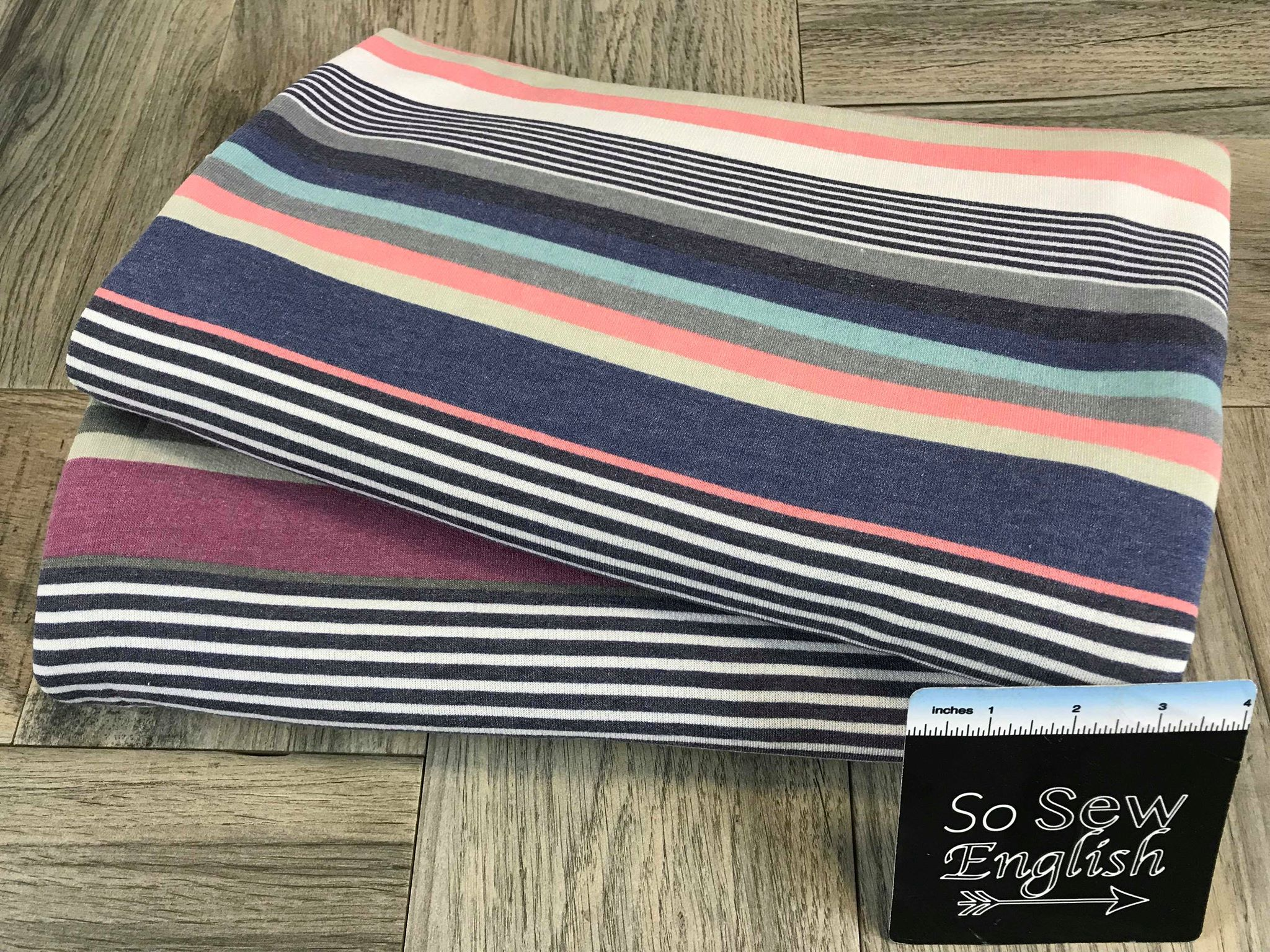 Navy/Coral BLAKE STRIPE - French Terry- By the yard