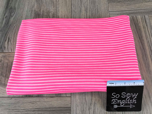 Neon Pink Stripe- LIVERPOOL Knit - By the yard