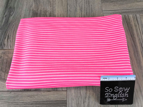 Red/Navy VERTICAL STRIPE - Double Brushed Poly Spandex -By The Yard