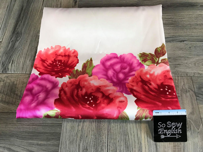 Ivory with Border Red Roses -Heavy Poly Woven- By the yard