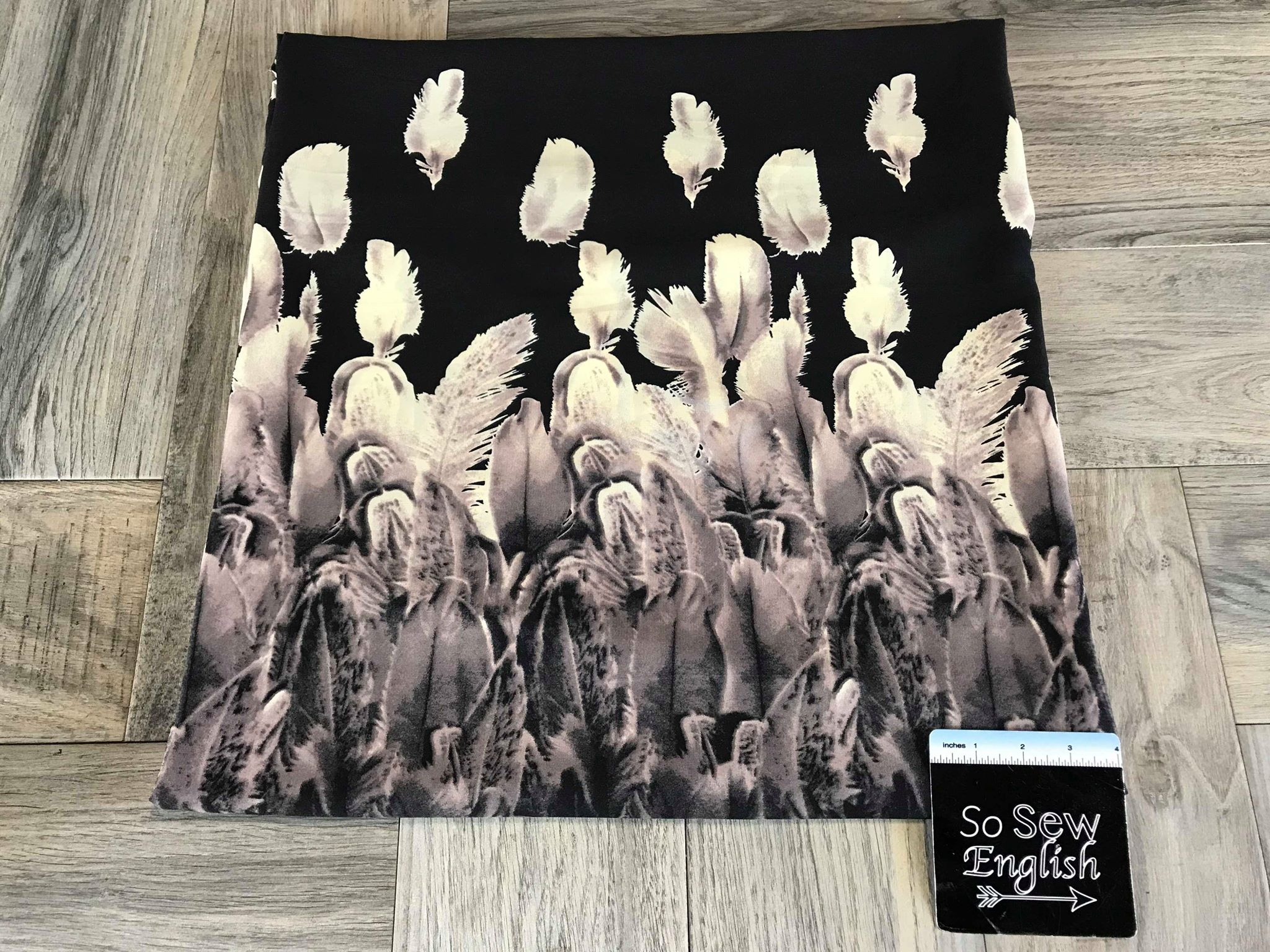 Black Feathers Border Print -Wool Dobby Woven- By the yard