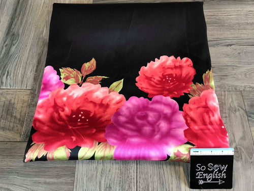 Black with Border Red Roses -Heavy Poly Woven- By the yard