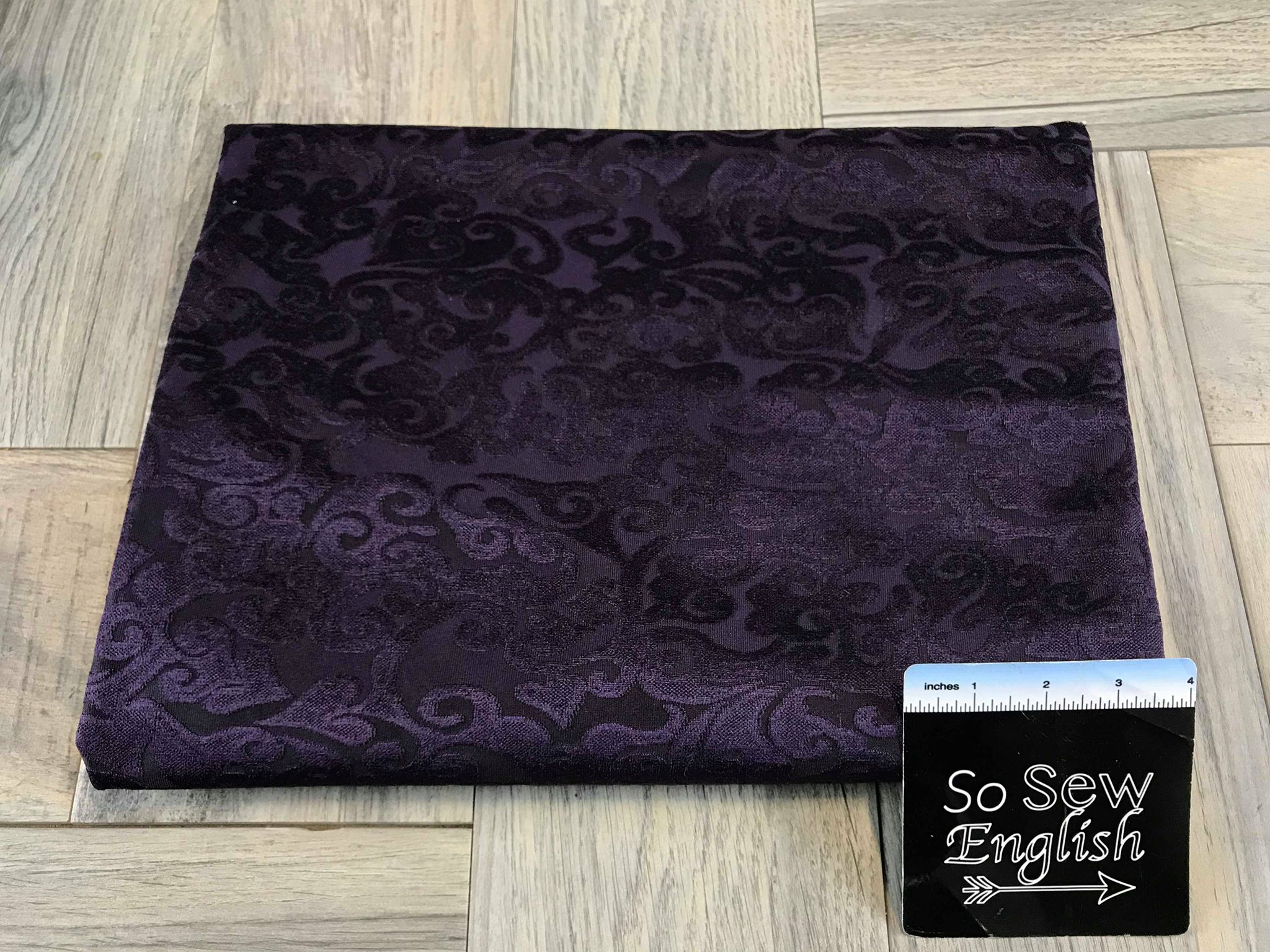 Deep Purple Damask - BURNOUT VELVET - By the yard