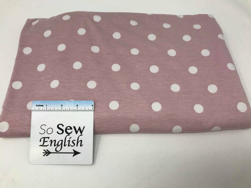 Dusty Pink Polka Dot PRS- Poly Rayon Spandex Jersey -By the yard