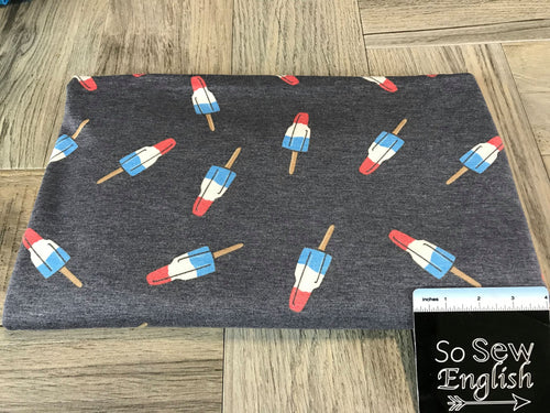 Navy ROCKET POPS - French Terry- By the yard (Patriotic)