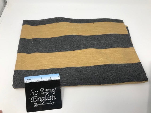 Mustard/Charcoal STRIPE (right side loops) -Poly Rayon Spandex  French Terry - By the yard