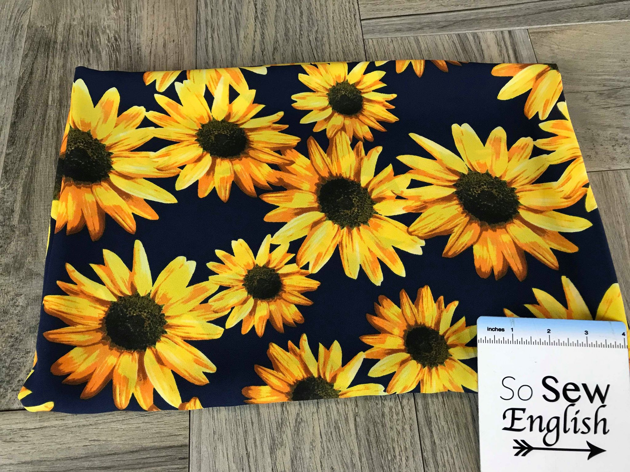 Navy Sunflower -Wool Dobby Woven- By the yard
