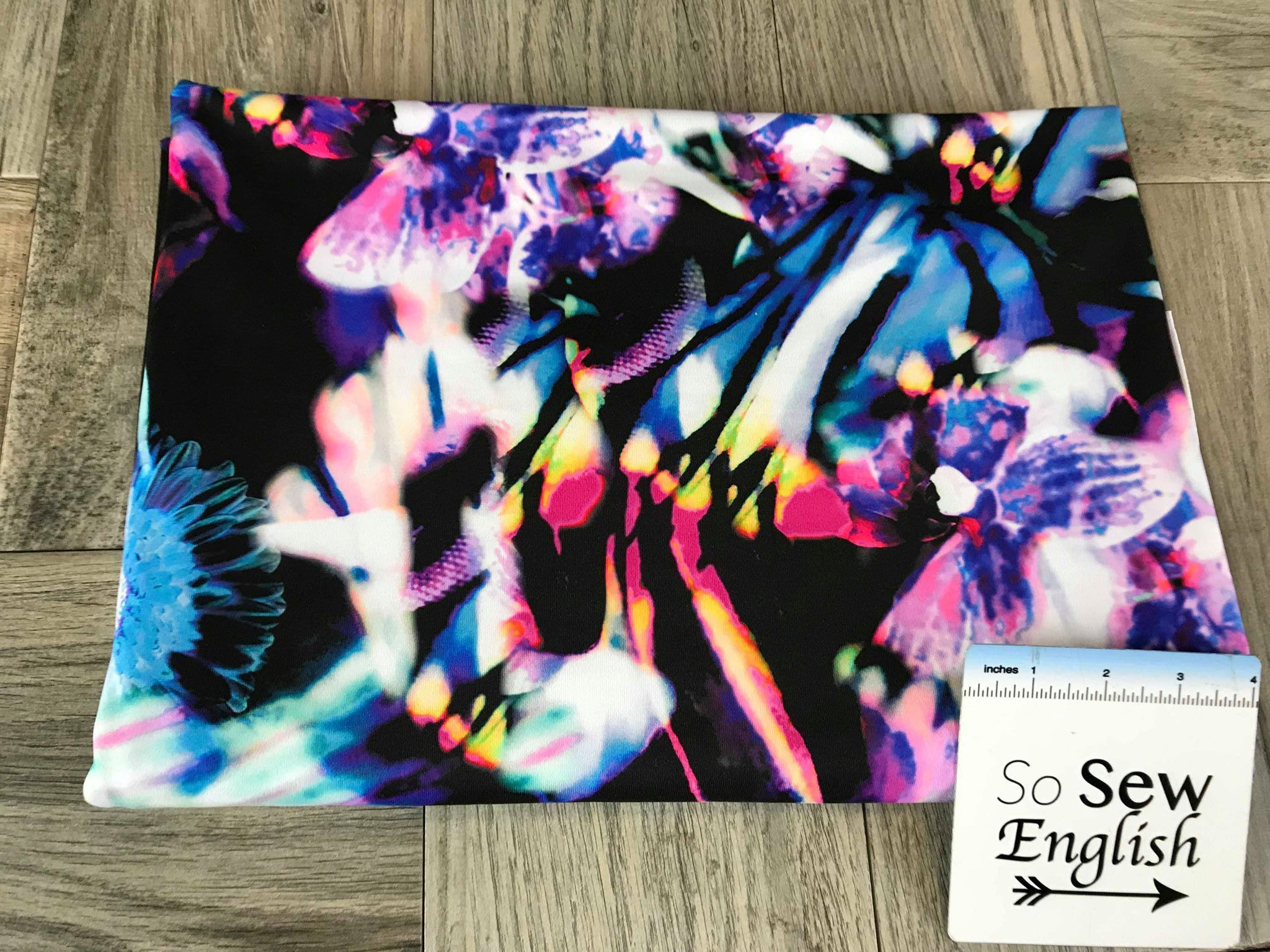 Black/Bright Floral Abstract -Swim -By The Yard