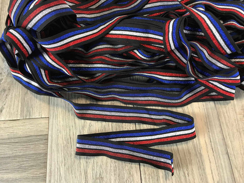 Black Patriotic Sparkle Elastic - Sold by the yard