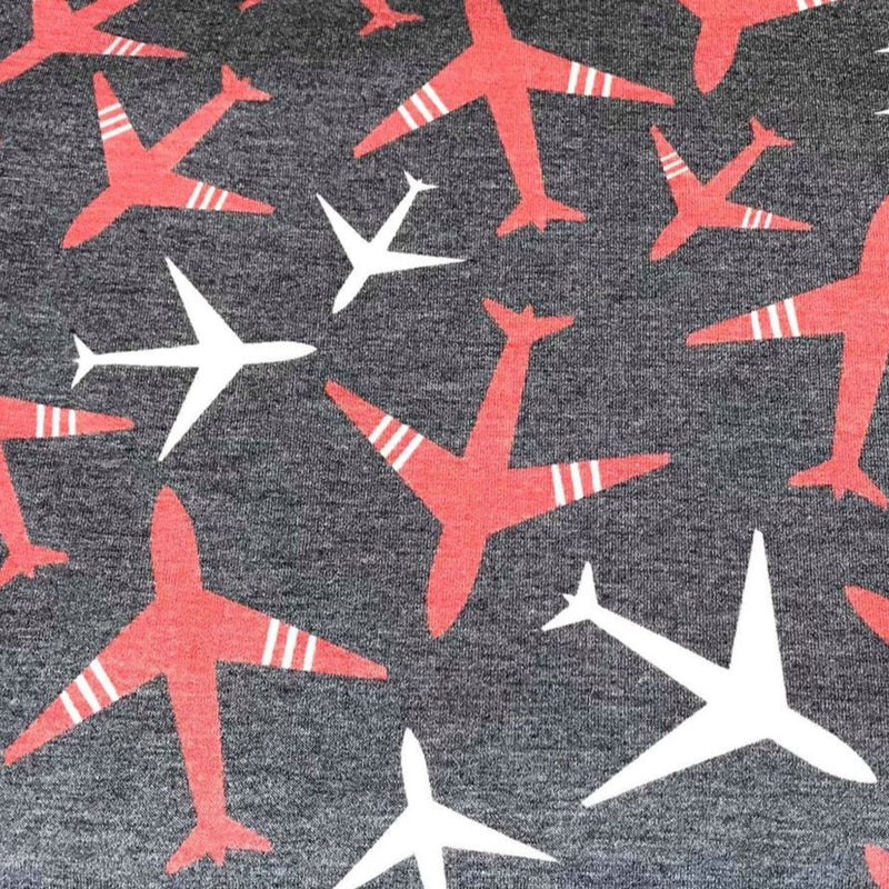 Navy AIRPLANES- French Terry- By the yard (Patriotic)
