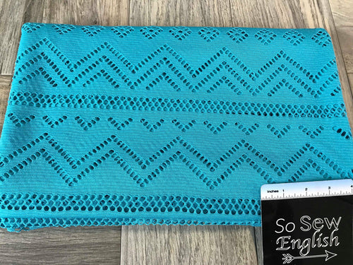Teal Chevron Crochet Lace- Lace -By the yard