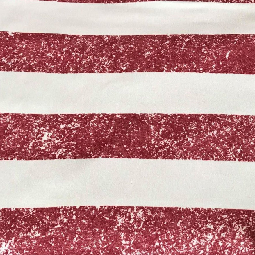 Vintage RED STRIPE - Double Brushed Poly Spandex -By The Yard (Patriotic)