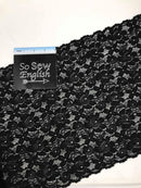 "Black Lace 12"" Trim -Stretch Double Galloon Lace -Sold by the yard"