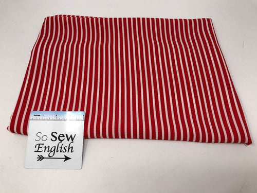 Red VERTICAL STRIPE - Crepe WOVEN - By the yard