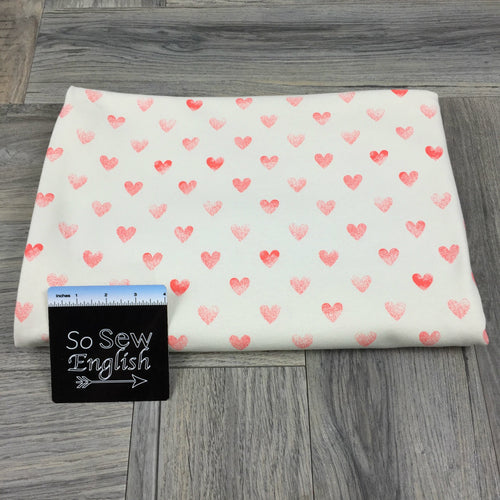 Cream STAMPED HEARTS- Poly Cotton Spandex French Terry - By the yard