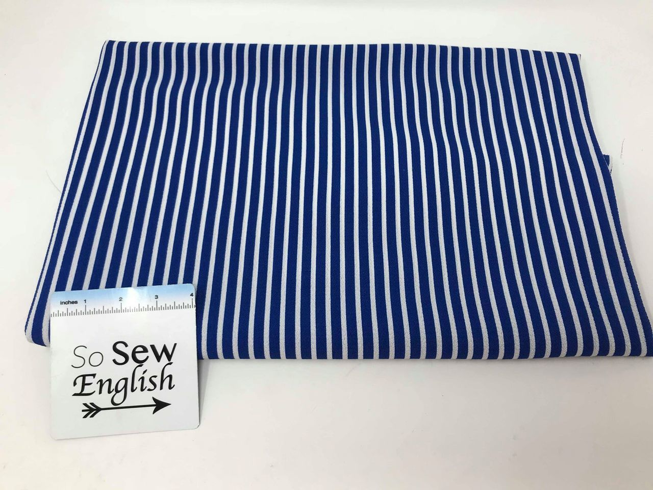 Royal  VERTICAL STRIPE - Crepe WOVEN - By the yard