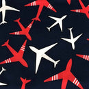 AIRPLANES - Double Brushed Poly Spandex -By The Yard (Patriotic)
